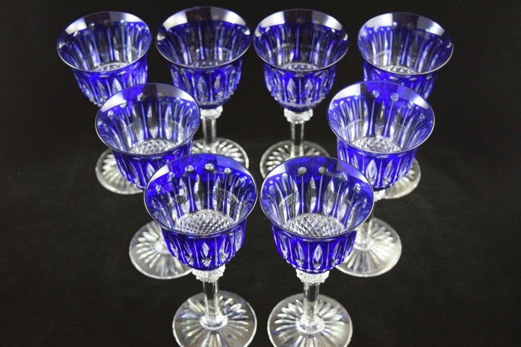 8 RARE FRENCH ST LOUIS TOMMY COBALT BLUE CRYSTAL - 6