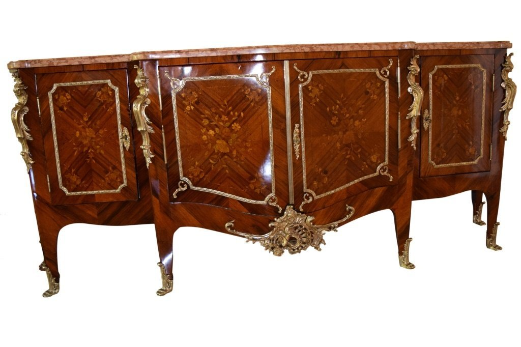 19TH C. LOUIS XV STYLE 4 DOOR BUFFET ORMOLU MOUNTS