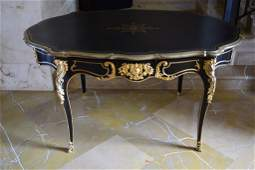 LOUIS XV GILT BRONZE MOUNTED EBONIZED BUREAU PLAT