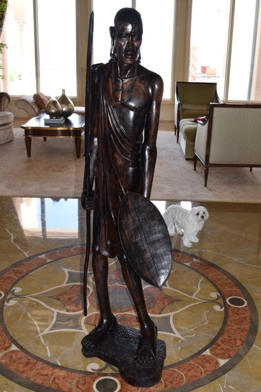 LIFE SIZE AFRICAN TRIBAL WARRIOR WOODEN CARVING