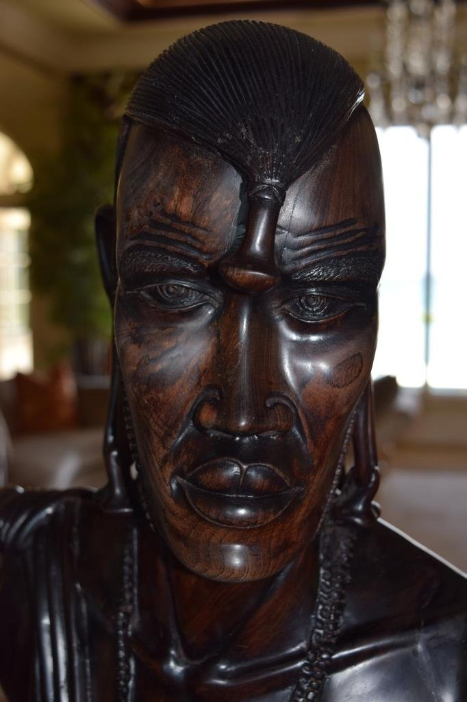 LIFE SIZE AFRICAN TRIBAL WARRIOR WOODEN CARVING - 2