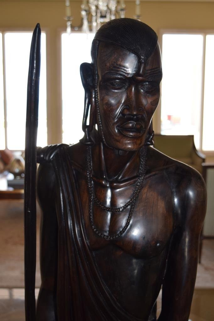 LIFE SIZE AFRICAN TRIBAL WARRIOR WOODEN CARVING - 3