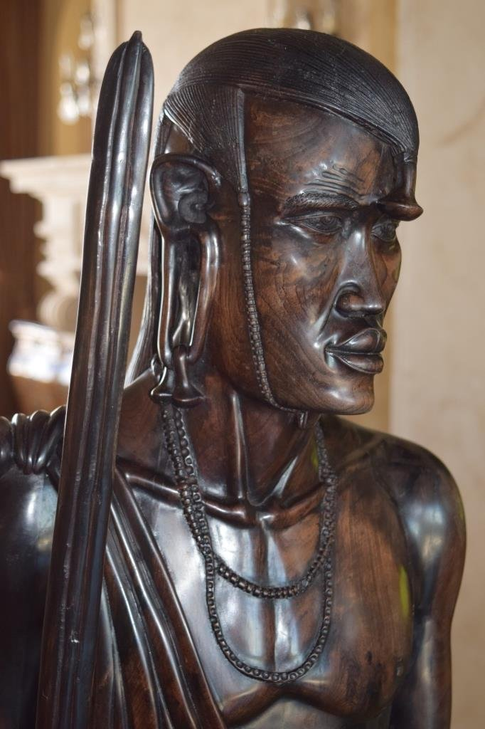 LIFE SIZE AFRICAN TRIBAL WARRIOR WOODEN CARVING - 7