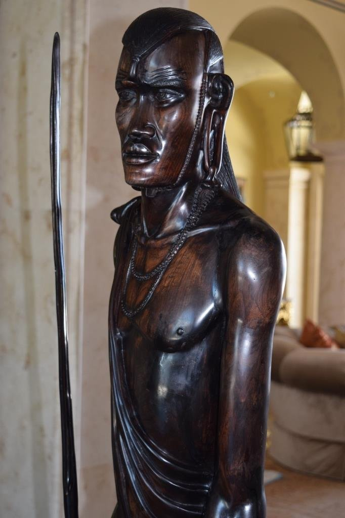 LIFE SIZE AFRICAN TRIBAL WARRIOR WOODEN CARVING - 8