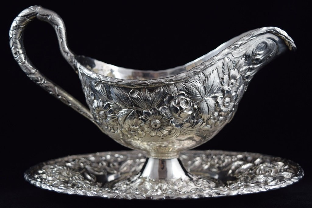 S KIRK & SON STERLING REPOUSSE SAUCE BOAT w/ TRAY