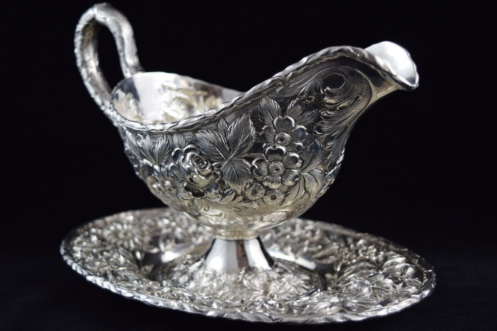 S KIRK & SON STERLING REPOUSSE SAUCE BOAT w/ TRAY - 2