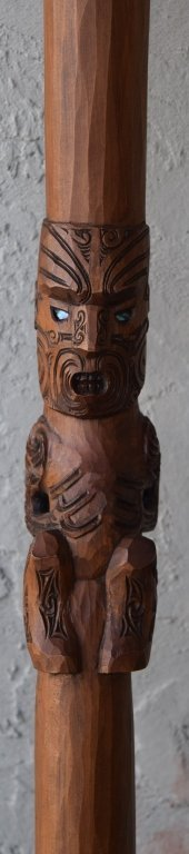 BEAUTIFULLY CARVED WOODEN PADDLE TRIBAL TIKI OAR - 2