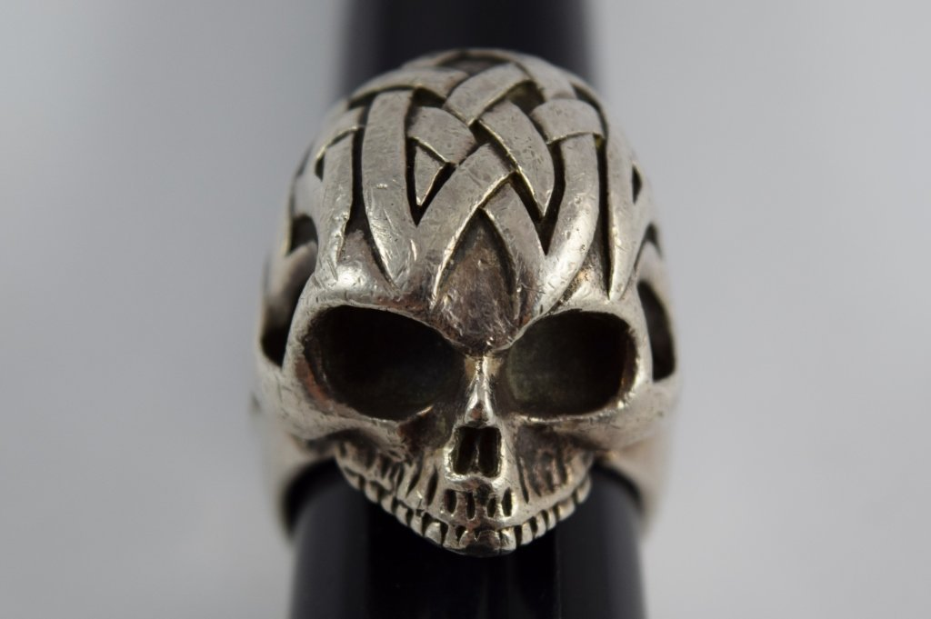 925 STERLING SILVER HEAVY MENS TRIBAL SKULL RING