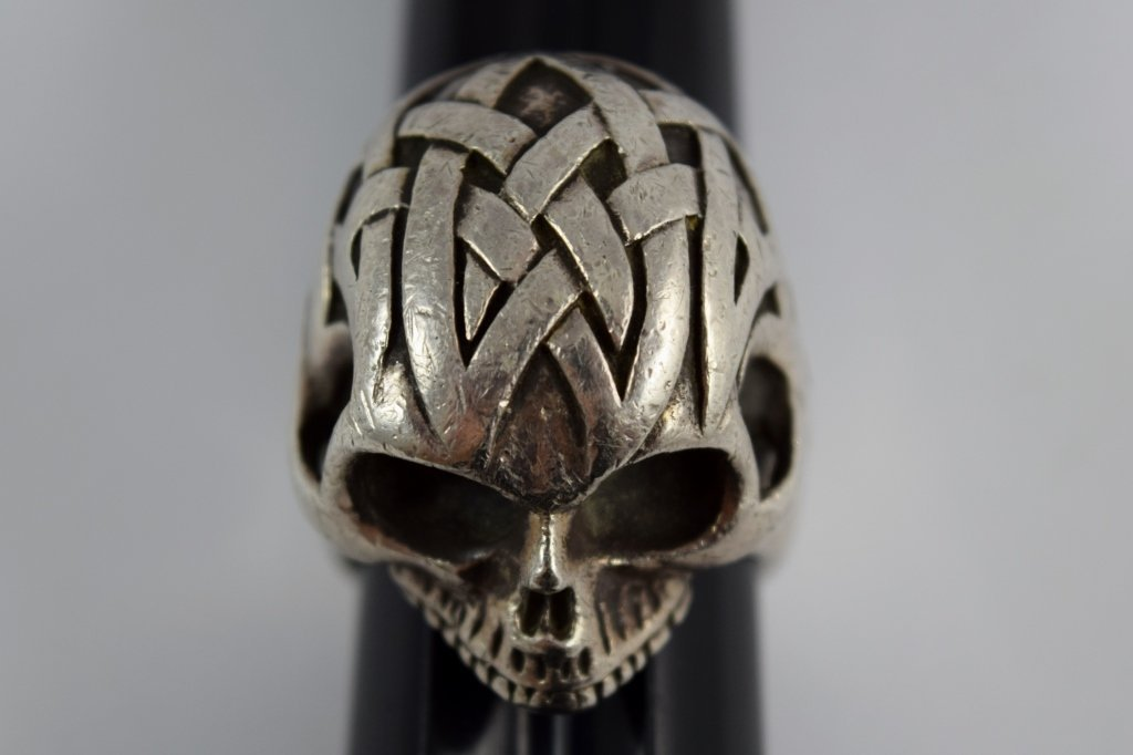 925 STERLING SILVER HEAVY MENS TRIBAL SKULL RING - 2