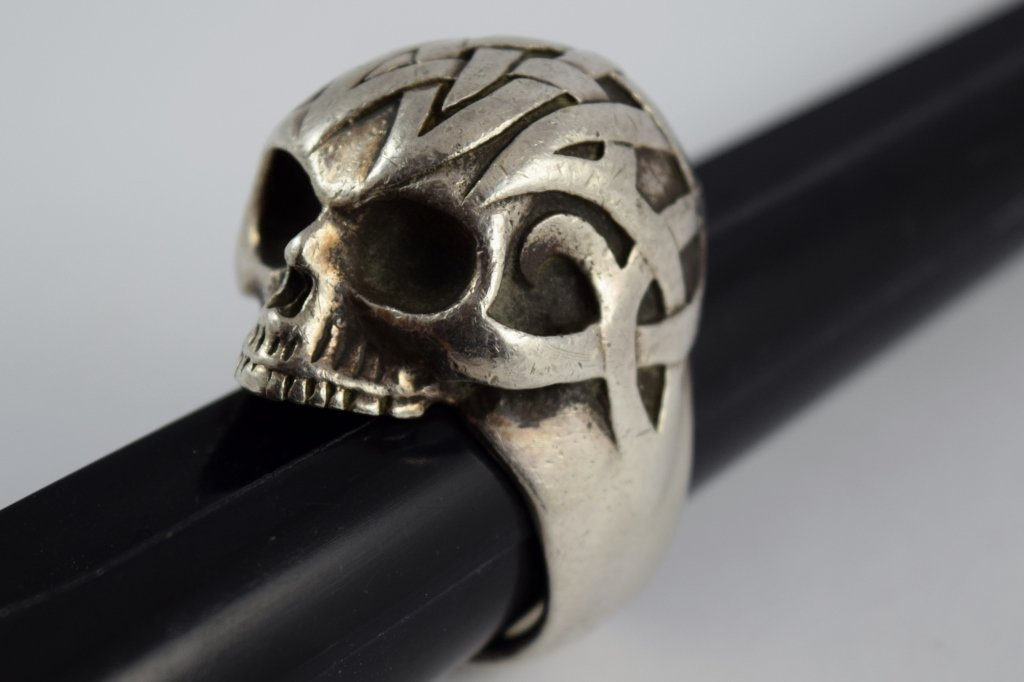 925 STERLING SILVER HEAVY MENS TRIBAL SKULL RING - 3