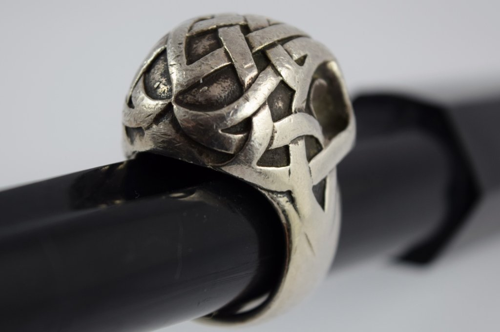 925 STERLING SILVER HEAVY MENS TRIBAL SKULL RING - 6