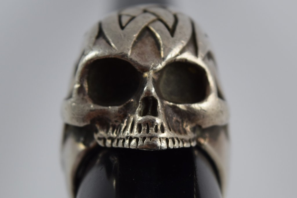 925 STERLING SILVER HEAVY MENS TRIBAL SKULL RING - 8