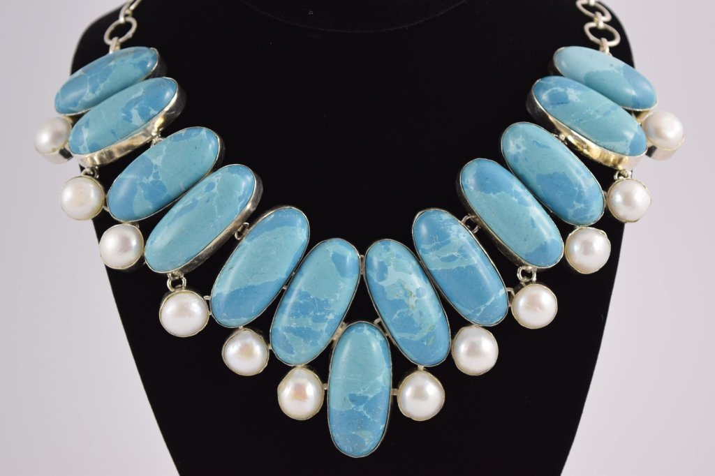 STERLING SILVER BLUE LARIMAR PEARL NECKLACE