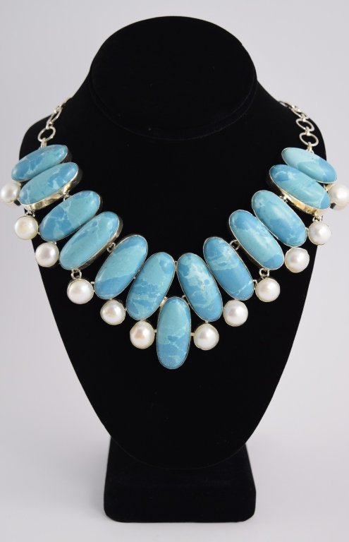 STERLING SILVER BLUE LARIMAR PEARL NECKLACE - 2
