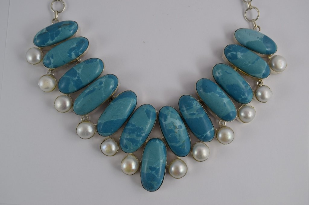 STERLING SILVER BLUE LARIMAR PEARL NECKLACE - 3
