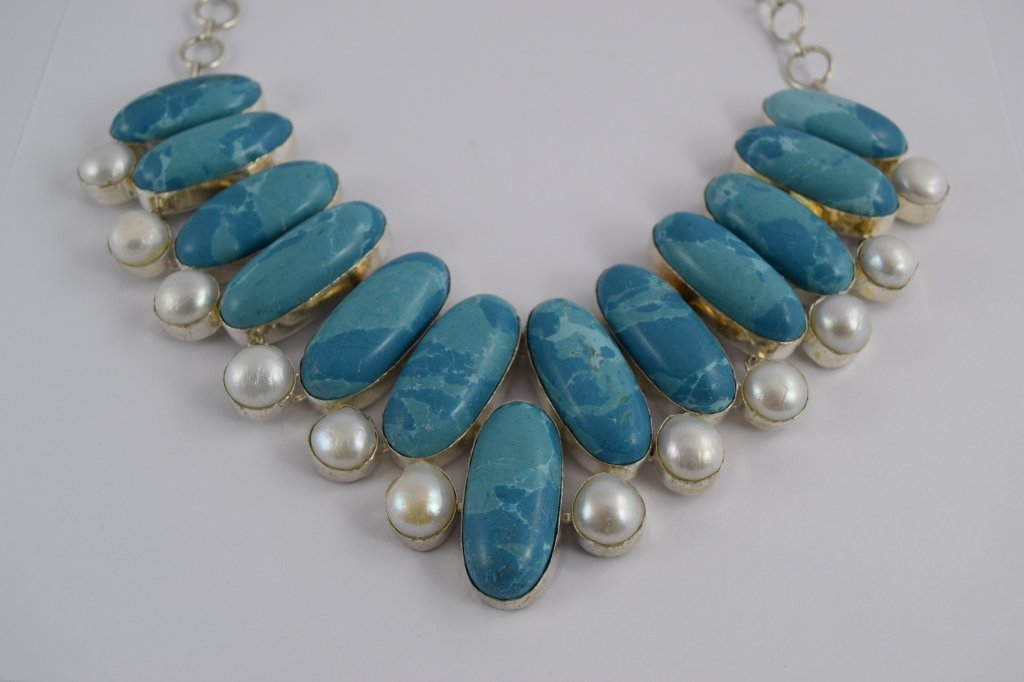 STERLING SILVER BLUE LARIMAR PEARL NECKLACE - 4