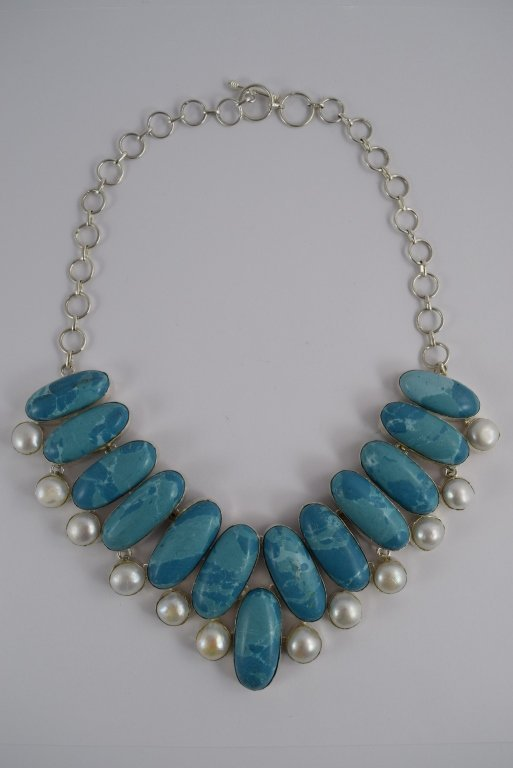 STERLING SILVER BLUE LARIMAR PEARL NECKLACE - 5