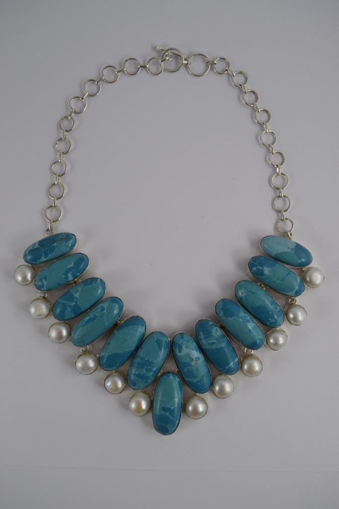 STERLING SILVER BLUE LARIMAR PEARL NECKLACE - 6