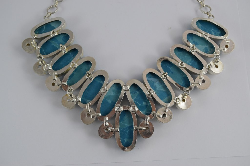 STERLING SILVER BLUE LARIMAR PEARL NECKLACE - 7