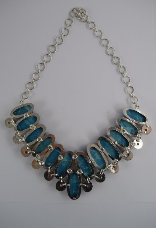 STERLING SILVER BLUE LARIMAR PEARL NECKLACE - 8