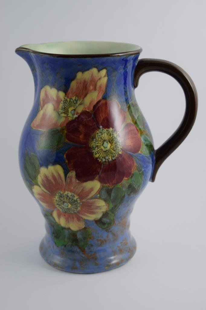 LARGE ROYAL DOULTON WILD ROSE LYGON FLOWER PITCHER