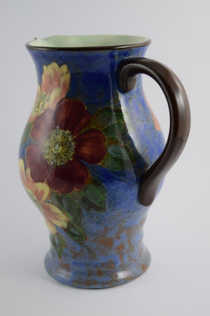 LARGE ROYAL DOULTON WILD ROSE LYGON FLOWER PITCHER - 2