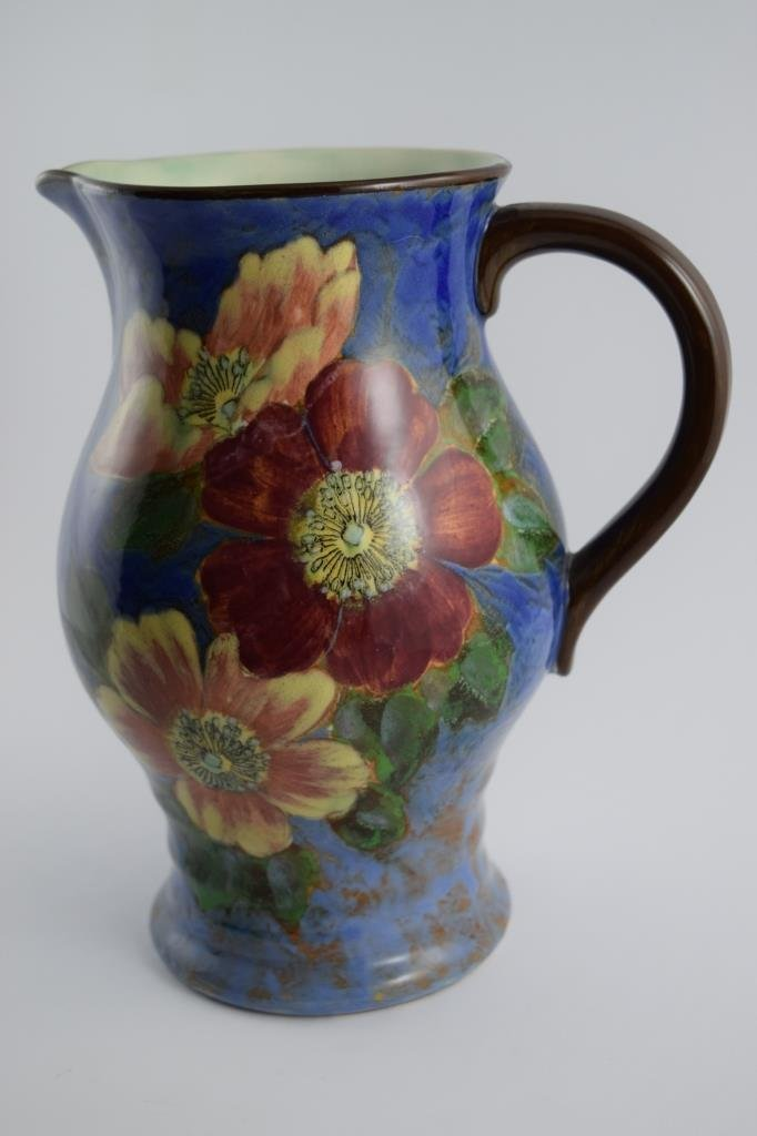 LARGE ROYAL DOULTON WILD ROSE LYGON FLOWER PITCHER - 9