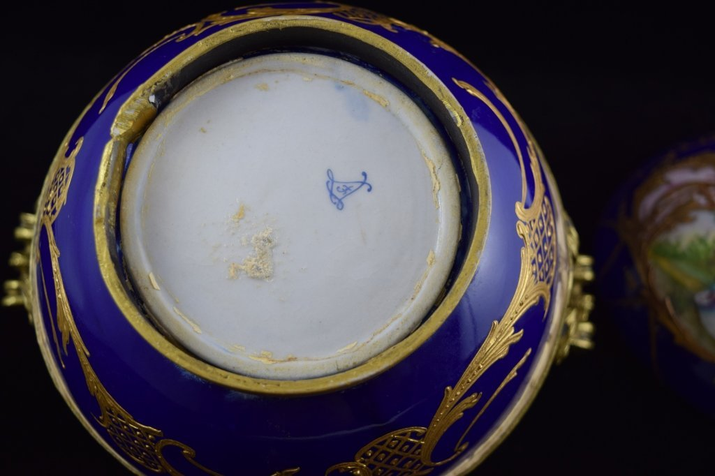 SEVRES SMALL BRASS MOUNTED COBALT & GOLD BOWL - 10