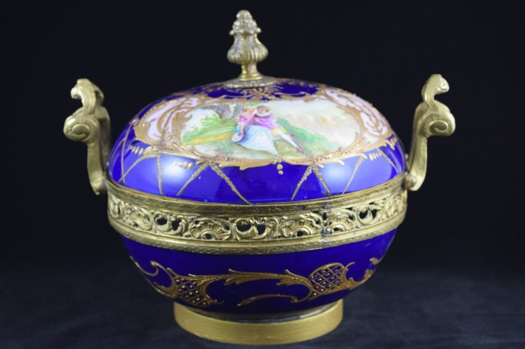 SEVRES SMALL BRASS MOUNTED COBALT & GOLD BOWL
