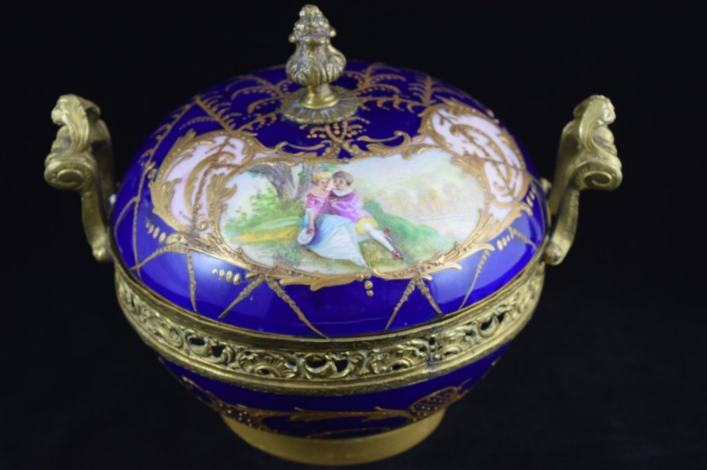 SEVRES SMALL BRASS MOUNTED COBALT & GOLD BOWL - 2