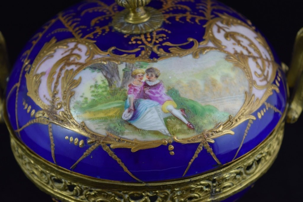 SEVRES SMALL BRASS MOUNTED COBALT & GOLD BOWL - 3