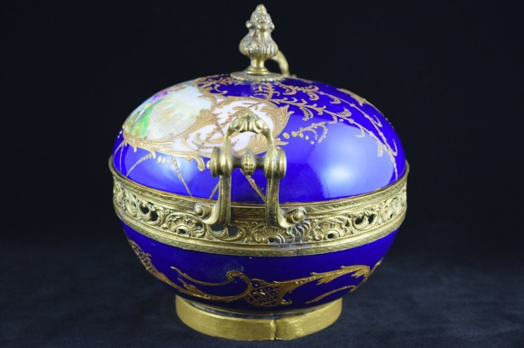 SEVRES SMALL BRASS MOUNTED COBALT & GOLD BOWL - 4