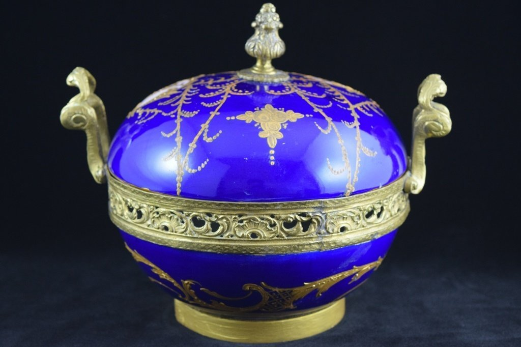 SEVRES SMALL BRASS MOUNTED COBALT & GOLD BOWL - 5