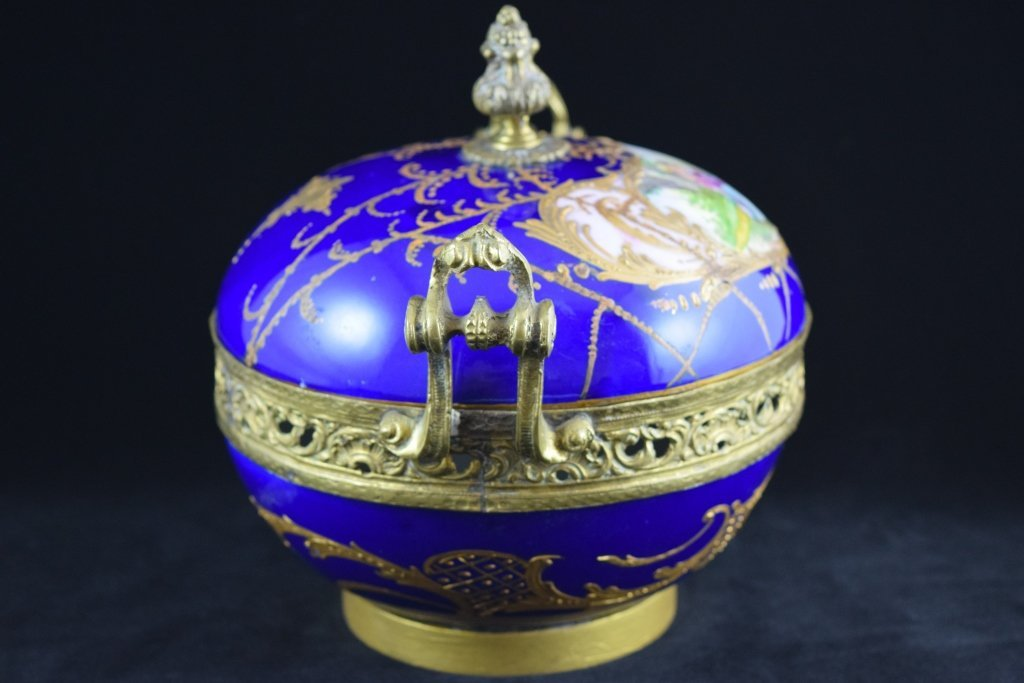 SEVRES SMALL BRASS MOUNTED COBALT & GOLD BOWL - 6