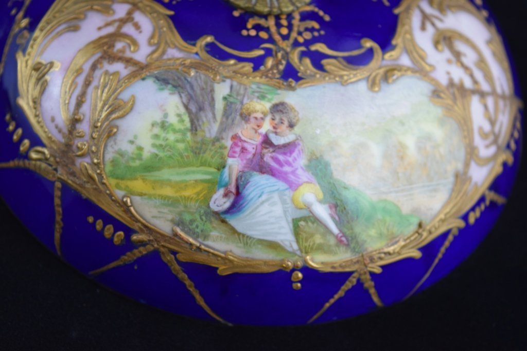 SEVRES SMALL BRASS MOUNTED COBALT & GOLD BOWL - 7