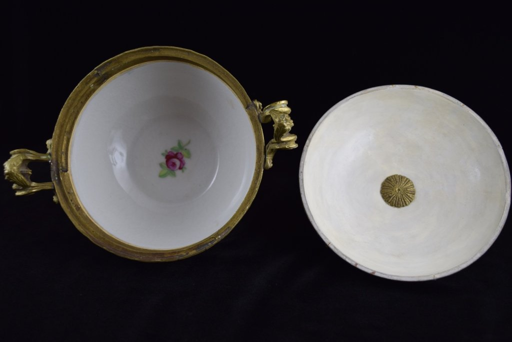 SEVRES SMALL BRASS MOUNTED COBALT & GOLD BOWL - 8