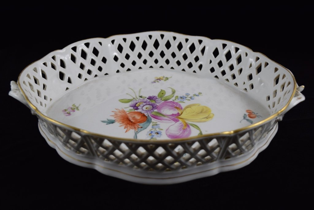 NYMPHENBURG GERMAN PORCELAIN FLORAL BASKET BOWL