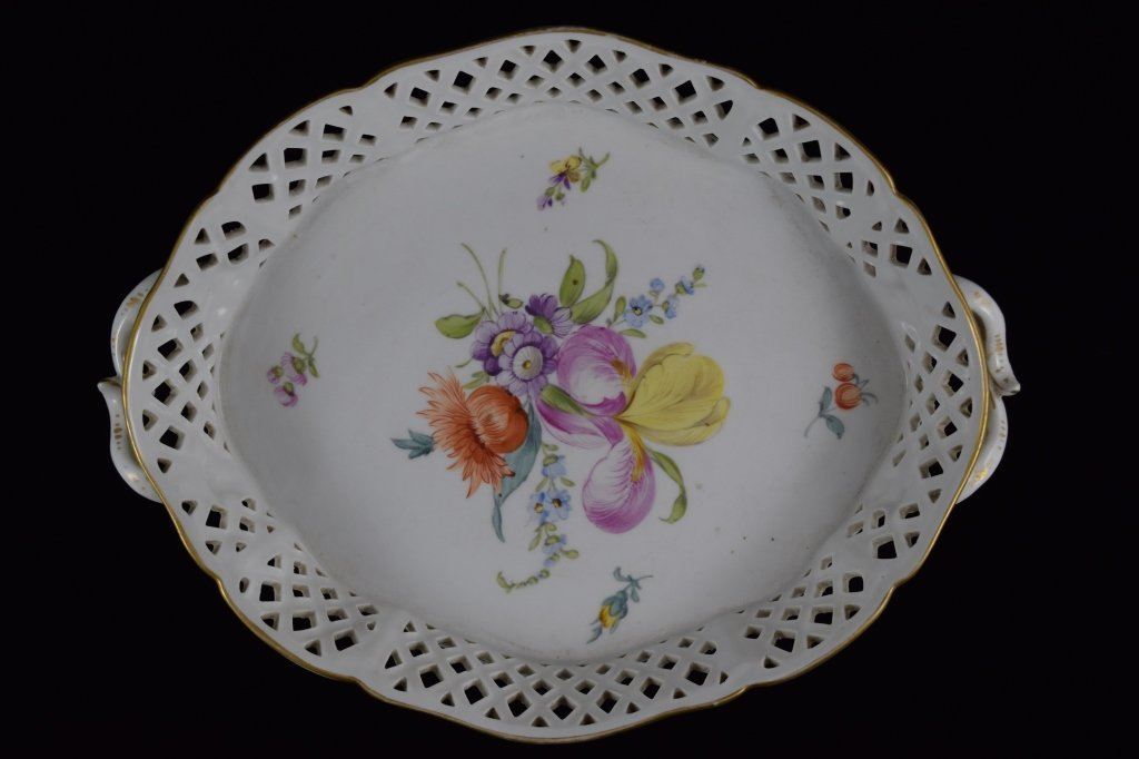 NYMPHENBURG GERMAN PORCELAIN FLORAL BASKET BOWL - 2