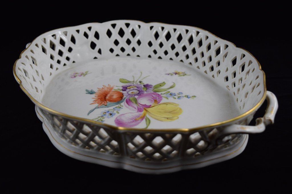 NYMPHENBURG GERMAN PORCELAIN FLORAL BASKET BOWL - 3