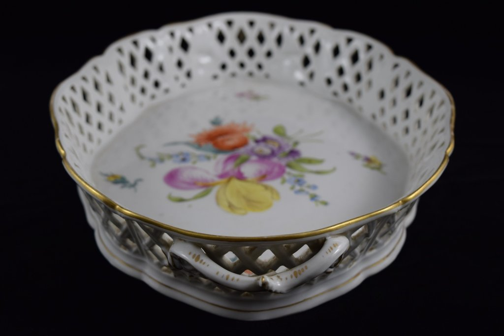 NYMPHENBURG GERMAN PORCELAIN FLORAL BASKET BOWL - 4