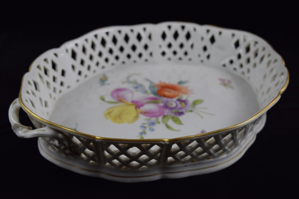 NYMPHENBURG GERMAN PORCELAIN FLORAL BASKET BOWL - 5