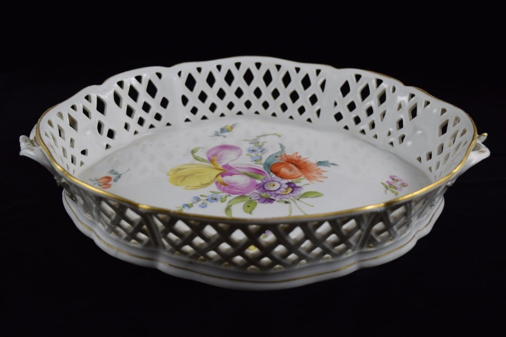 NYMPHENBURG GERMAN PORCELAIN FLORAL BASKET BOWL - 6