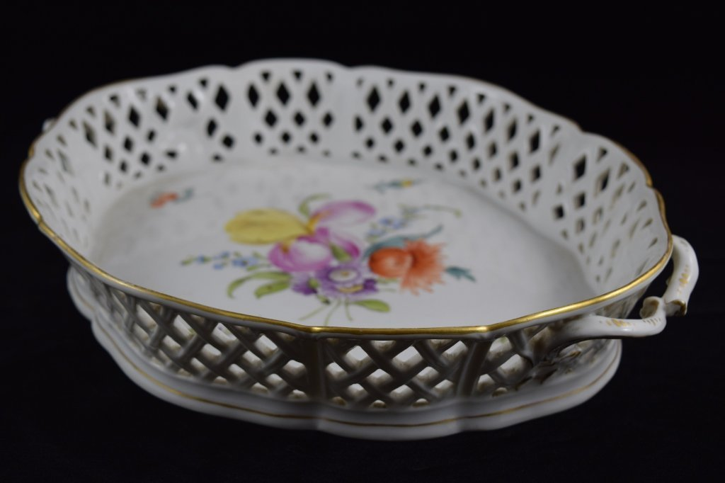 NYMPHENBURG GERMAN PORCELAIN FLORAL BASKET BOWL - 7