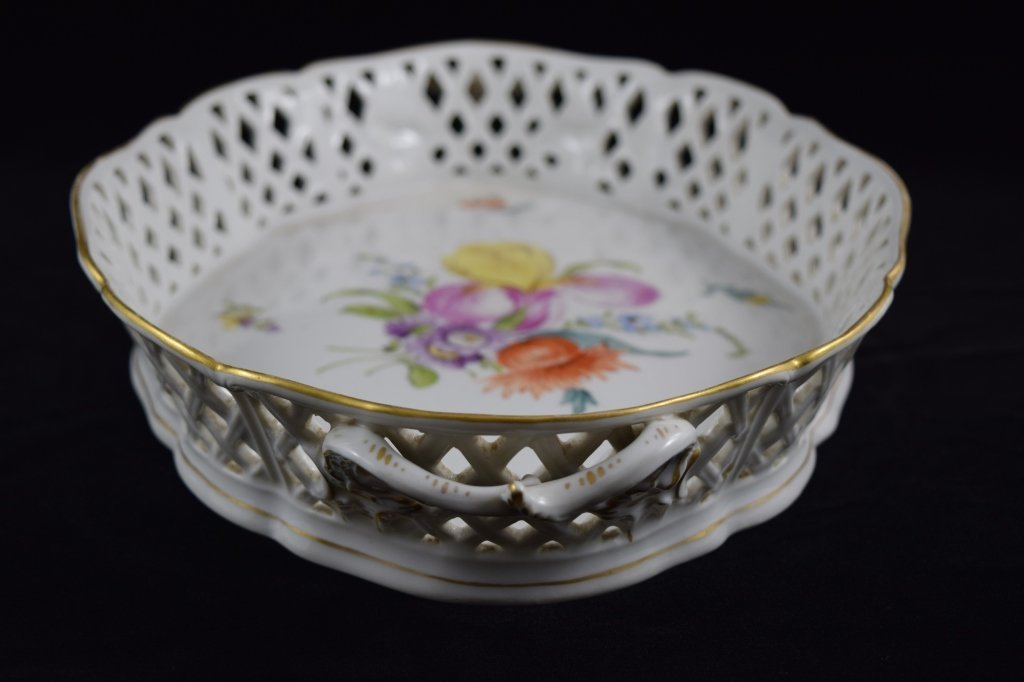 NYMPHENBURG GERMAN PORCELAIN FLORAL BASKET BOWL - 8