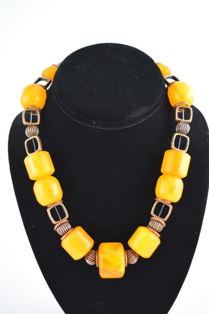 COPAL YOUNG AMBER CYLINDRICAL BEADED NECKLACE - 2