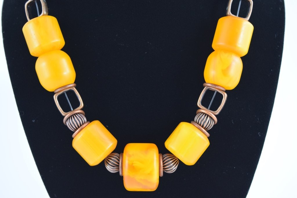 COPAL YOUNG AMBER CYLINDRICAL BEADED NECKLACE - 3