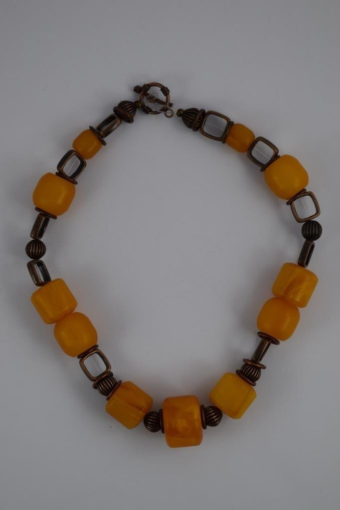 COPAL YOUNG AMBER CYLINDRICAL BEADED NECKLACE - 4