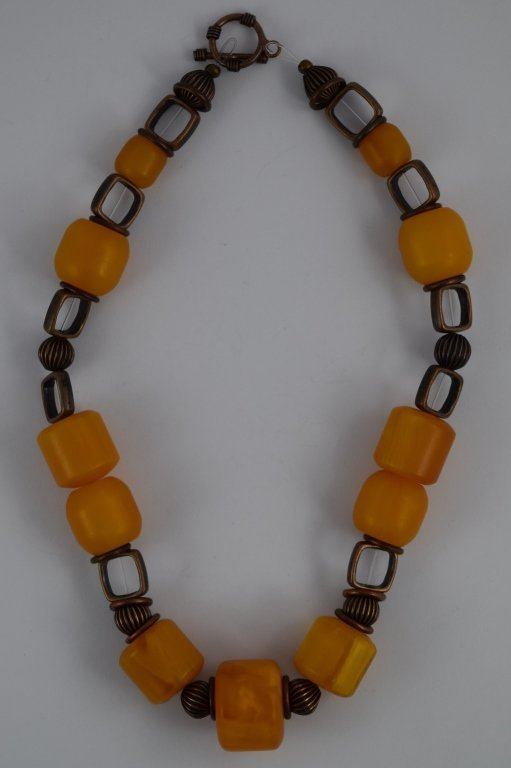 COPAL YOUNG AMBER CYLINDRICAL BEADED NECKLACE - 5