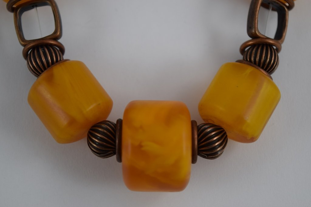 COPAL YOUNG AMBER CYLINDRICAL BEADED NECKLACE - 6