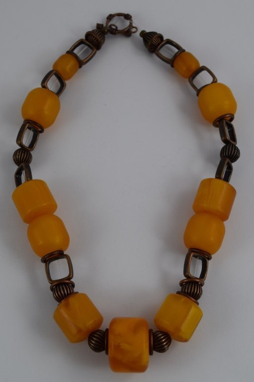 COPAL YOUNG AMBER CYLINDRICAL BEADED NECKLACE - 7